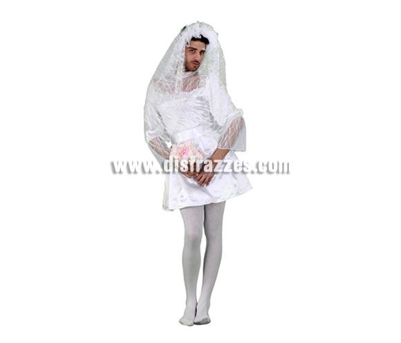 Disfraz de Novia Sexy hombre para Carnaval y para Despedidas de soltero. Talla Standar M-L de hombre 52/54. Incluye velo, vestido y cinturón.
