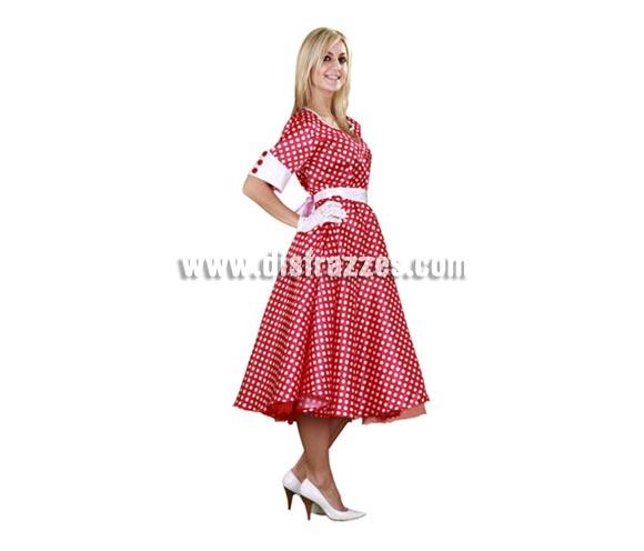 Disfraz de mujer de los años 50 adulta para Carnaval. Talla Standar M-L = 38/42. Incluye vestido, cinturón y guantes. Disfraz de chica americana de los años 50, como los que salen en las pelis americanas como Olivia Newton John en la película Grease.
