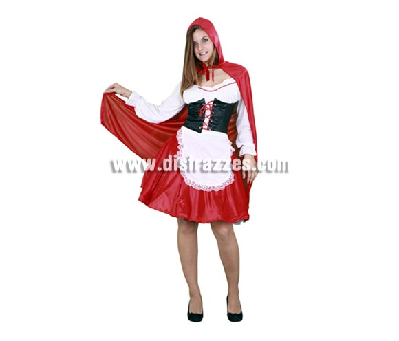 Disfraz de Caperucita Roja adulta para Carnaval. Talla Standar M-L 38/42. Incluye capa con capucha, camisa, corsé, cinturón y falda con delantal.