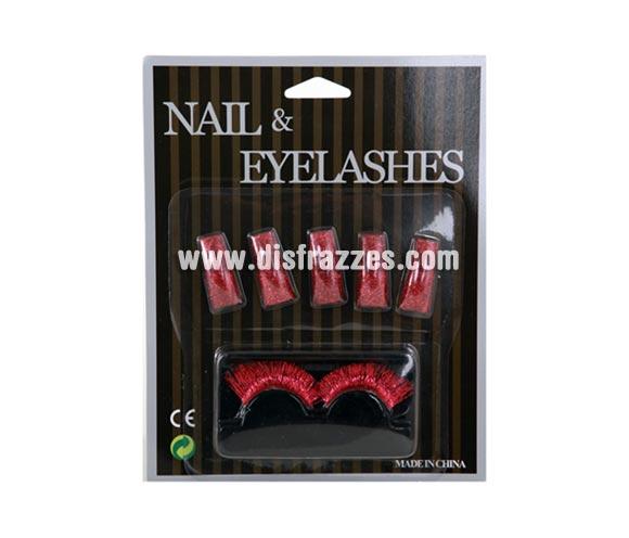 Set de Pestañas y uñas postizas de color rojo con purpurina para Carnaval y Halloween. Incluye juego de 2 pestañas y 10 uñas.