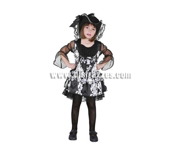 Disfraz barato de Lady Pirata infantil barato para Carnaval. Talla de 5 a 6 años. Incluye sombrero y vestido.