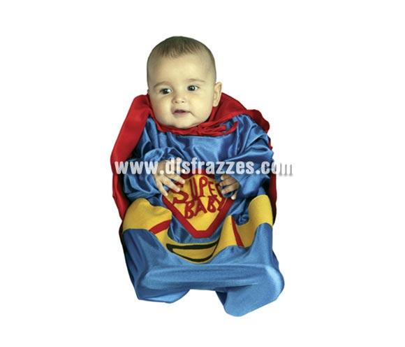 Disfraz barato de Super Baby para Bebés en Carnaval. Talla de 0 a 6 meses. Incluye saquito y capa.