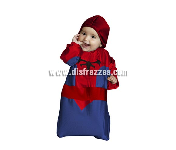 Disfraz de Hombre Araña bebé barato para Carnaval. Talla de 0 a 6 meses. Incluye saquito y capucha. Perfecto para disfrazar a tu Bebé del hijo de Spiderman.