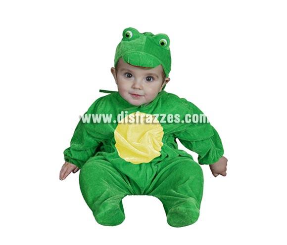 Disfraz barato de Rana bebé para Carnaval. Talla de 6 a 12 meses. Incluye gorro y mono.