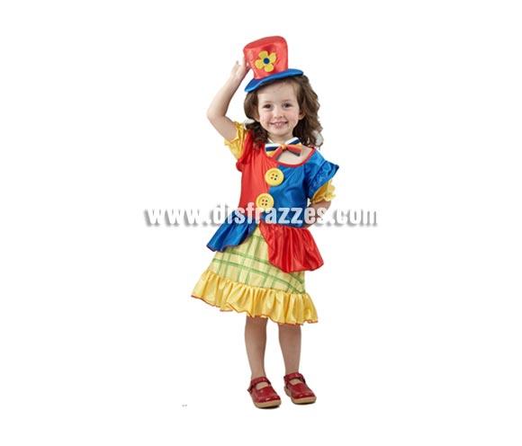Disfraz barato de Payasina o Payasita infantil para Carnaval. Talla de 3 a 4 años. Incluye vestido, sombrero y pajarita. ¡¡Compra tu disfraz para Carnaval en nuestra tienda de disfraces, será divertido!!