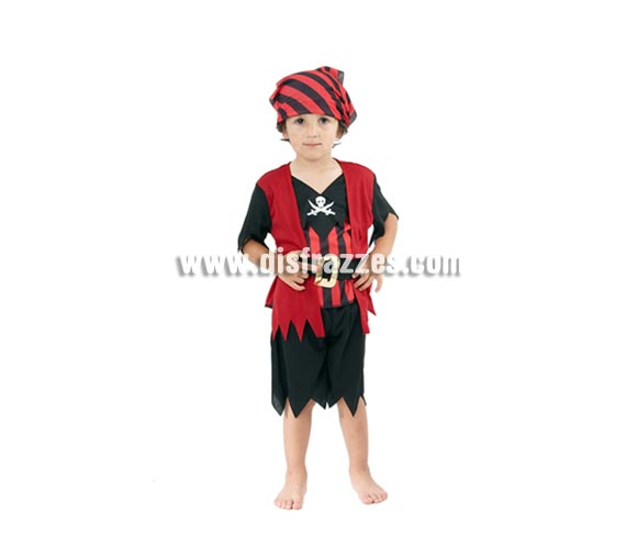 Disfraz barato de Pirata para niños de 3 a 4 años. Incluye camisa con chaleco, falda, cinturón y pañuelo de la cabeza.