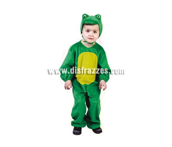 Disfraz barato de Rana infantil para Carnaval. Talla de 5 a 6 años. Incluye mono y gorro.