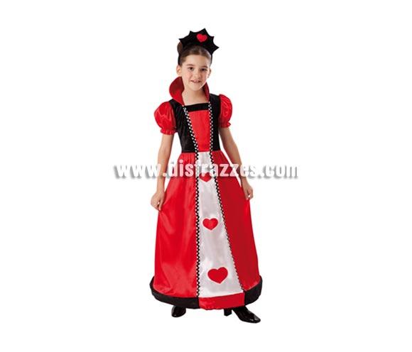 Disfraz de Reina de Corazones infantil para Carnaval. Talla de 5 a 6 años. Incluye vestido, cuello y tocado o diadema.  ¡¡Compra tu disfraz para Carnaval en nuestra tienda de disfraces, será divertido!!