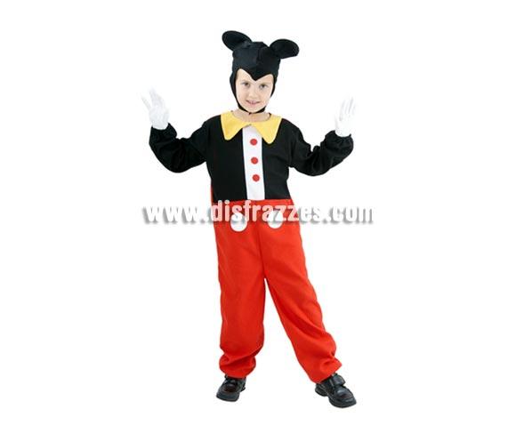 Disfraz barato de Ratoncito infantil para Carnaval. Talla de 5 a 6 años. Incluye mono y capucha. Perfecto disfraz para imitar a Mickey Mouse.