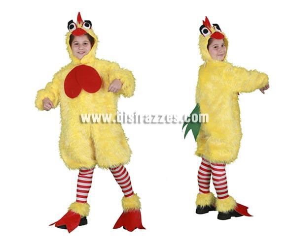 Disfraz de Pollo infantil para Carnaval. Talla de 5 a 6 años. Incluye gorro, mono, calentadores y cubrepies.  ¡¡Compra tu disfraz para Carnaval en nuestra tienda de disfraces, será divertido!!