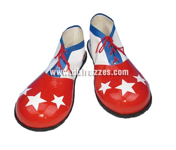 Par de Zapatos o Zapatones de Payaso hombre de 37 cm. con estrellas blancas para Carnaval. Válidos para las tallas de la 41 a la 46.
