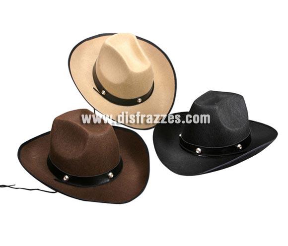 Sombrero Vaquero de fieltro para Carnaval. Talla universal de adultos. Tres colores surtidos, precio por unidad, se venden por separado.