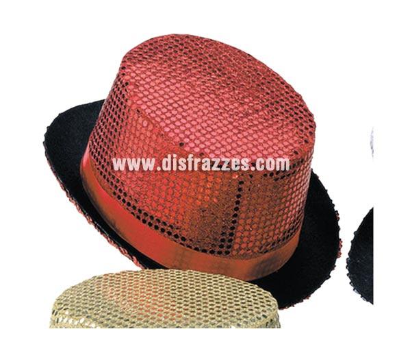 Sombrero de copa o Chistera rojo con lentejuelas para Carnaval. Talla universal de niños.
