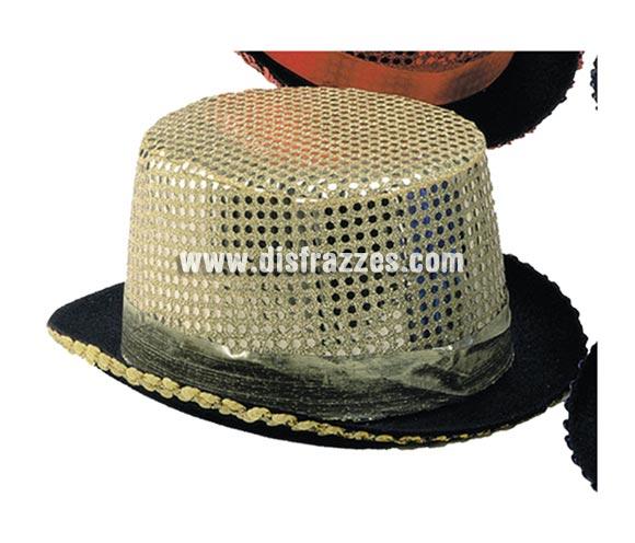 Sombrero de copa o Chistera dorado con lentejuelas para Carnaval. Talla universal de niños.