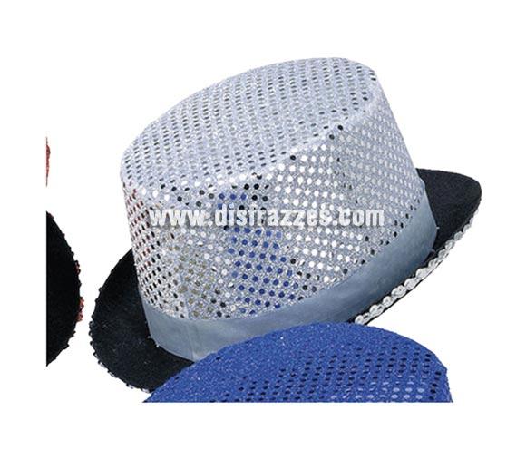 Sombrero de copa o Chistera plateado con lentejuelas para Carnaval. Talla universal de niños.