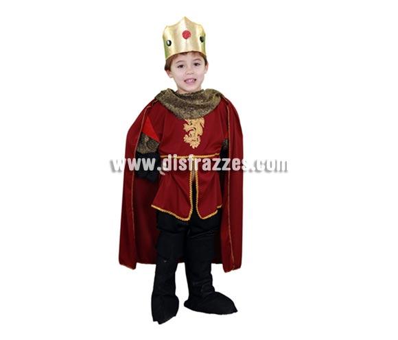 Disfraz barato de Rey Ricardo corazón de león infantil para Carnaval. Talla de 5 a 6 años. Incluye camisa con capa, pantalón, cubrebotas y corona.