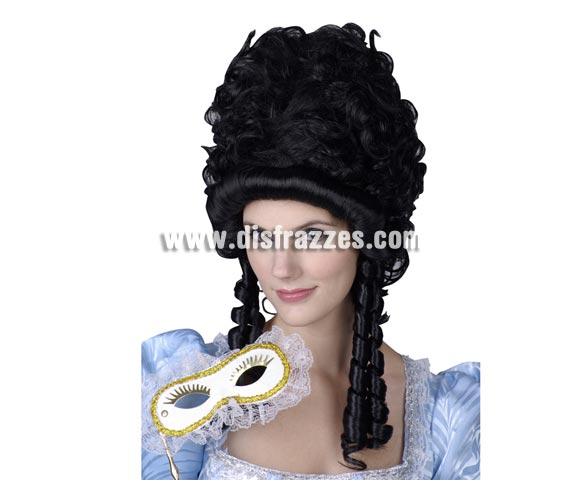 Peluca de Princesa de la Nobleza morena para mujer. Talla Universal adultos. Ideal como complemento de tu disfraz de Época.