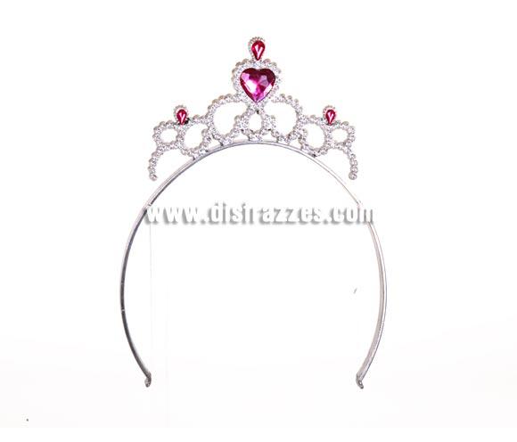 Tiara o Diadema de Princesa plateada con 4 piedras rosas para Carnaval. Material: plástico. Ideal como complemento de tu disfraz de Princesa o Reina.