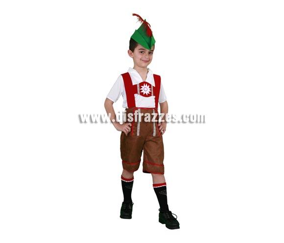 Disfraz barato de Tirolés infantil para Carnaval. Talla de 5 a 6 años. Incluye sombrero, camisa y pantalón con tirantes.  ¡¡Compra tu disfraz para Carnaval en nuestra tienda de disfraces, será divertido!!