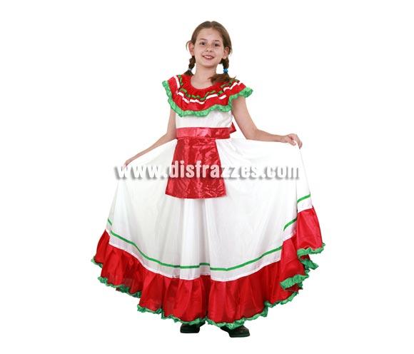 Disfraz de Mejicana infantil para Carnaval. Talla de 5 a 6 años. Incluye vestido y delantal.