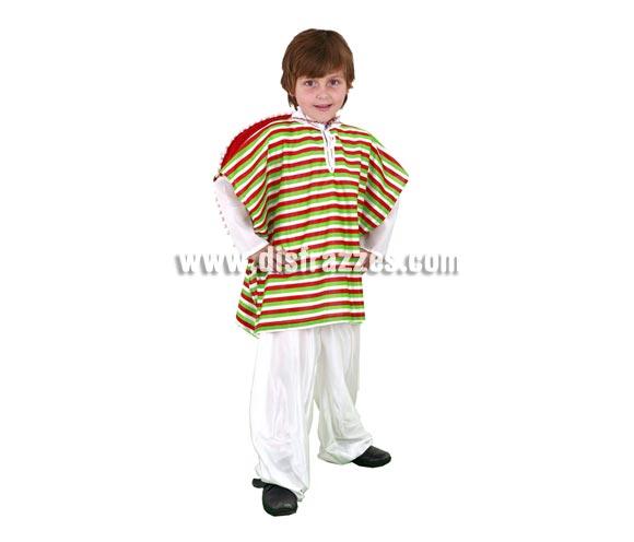 Disfraz de Mejicano infantil para Carnaval. Talla de 7 a 9 años. Incluye poncho y pantalón. Sombrero NO incluido, podrás verlo en la sección de Accesorios.
