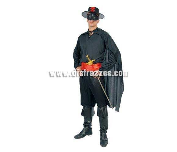 Disfraz barato de Justiciero adulto para Carnavales. Talla única 52/54. Incluye antifaz, camisa, capa, cinturón y pantalón. Sombrero y espada NO incluidos, podrás verlos en la sección de Complementos. Con éste disfraz podrás imitar a El Zorro en Carnavales. ¡¡Compra tu disfraz para Carnaval en nuestra tienda de disfraces, será divertido!!