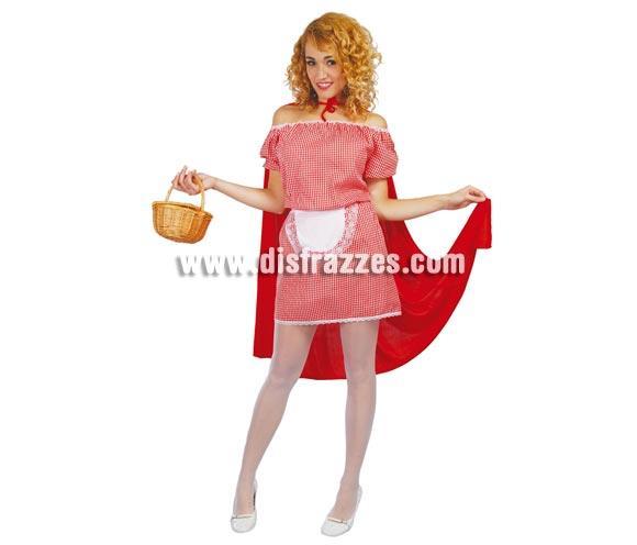 Disfraz barato de Caperucita adulta para Carnavales. Talla única hasta la 42/44. Incluye capa con capucha, vestido y delantal.