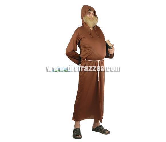 Disfraz barato de Monje o Fraile adulto para Carnavales. Talla única 52/54. Incluye traje con capucha y cinturón.