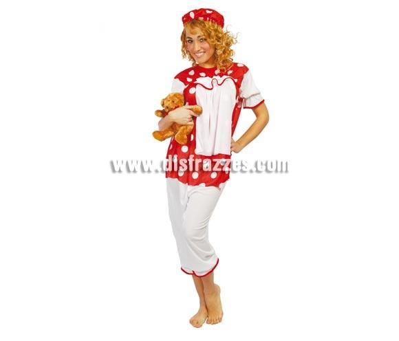 Disfraz super barato de Muñeca de Trapo adulta para Carnavales. Talla única hasta la 42/44. Incluye gorro, blusa con babero y pantalón.