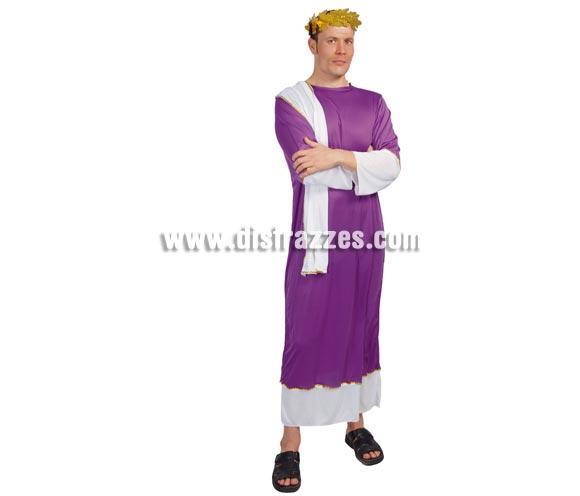Disfraz muy barato de Senador Romano adulto para Carnavales. Talla única 52/54. Incluye  traje o túnica completo. Corona No incluida, podrás encontrarla en la sección de Accesorios. También sirve como disfraz de Herodes para Navidad.