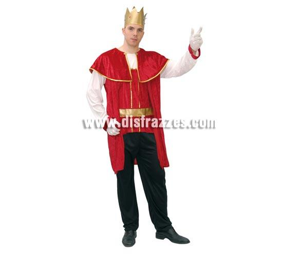 Disfraz de Rey Medieval adulto para Carnavales. Talla nica 52/54. Incluye corona, casaca, cinturn y pantaln. Tela de terciopelo. ste disfraz de Carnaval o traje de Medieval es ideal para celebrar las Fiestas o Ferias Medievales cada vez ms arraigadas en nuestro Pas que se celebran tanto en Pueblos en la calle, como en Pubs, Discotecas, Casas particulares,  Restaurantes o Colegios y disfrazndote con un traje Medieval ayudars a crear ese ambiente de la Edad Media, el Renacimiento o la poca Medieval, tan atractivo como aventurero y que a todos nos fascina.