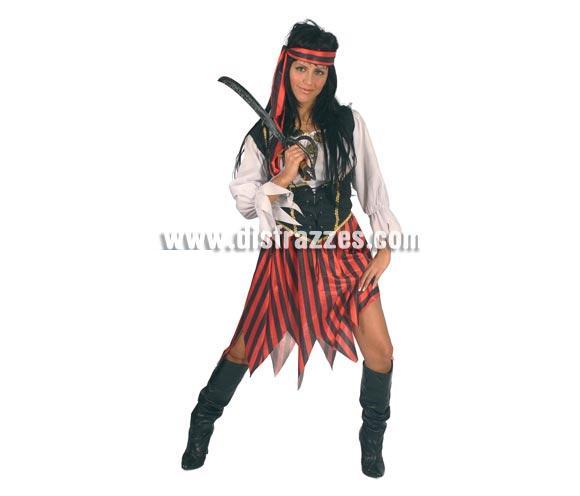 Disfraz de Pirata Corsé adulta para Carnavales. Talla única hasta la 42/44. Incluye cinta de la cabeza, corsé, camisa y falda. Espada NO incluida, podrás verla en la sección Accesorios.
