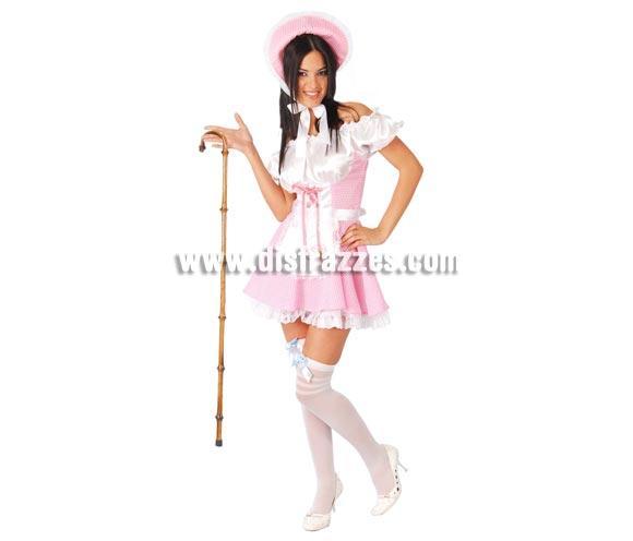 Disfraz de Campesina Sexy rosa adulta para Carnavales. Talla única 38/40. Incluye cofia, vestido y delantal.