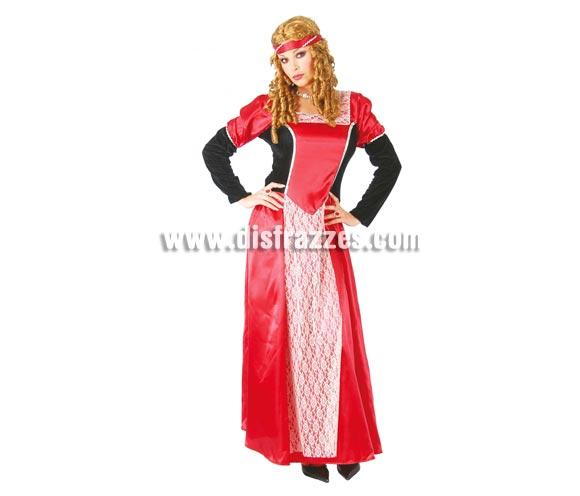 Disfraz de Doncella Medieval rojo adulta para Carnavales y Ferias Medievales. Talla nica hasta la 42/44. Incluye cinta de la cabeza y vestido. ste traje de Medieval es ideal para celebrar las Fiestas o Ferias Medievales cada vez ms arraigadas en nuestro Pas que se celebran tanto en Pueblos en la calle, como en Pubs, Discotecas, Casas particulares,  Restaurantes o Colegios y disfrazndote con un traje Medieval ayudars a crear ese ambiente de la Edad Media, el Renacimiento o la poca Medieval, tan atractivo como aventurero y que a todos nos fascina.