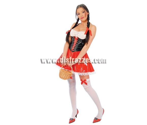 Disfraz de Campesina Super Sexy adulta de vinilo para Carnavales. Talla única 38/40. Incluye vestido. También podría valer como disfraz de Caperucita super sexy. ¡¡Compra tu disfraz para Carnaval en nuestra tienda de disfraces, será divertido!!