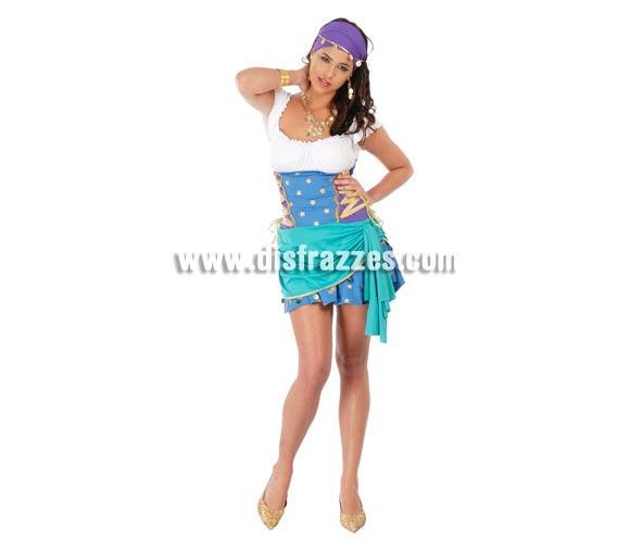 Disfraz de Zíngara Sexy adulta para Carnavales. Talla única 38/40. Incluye vestido y pañuelo lila.