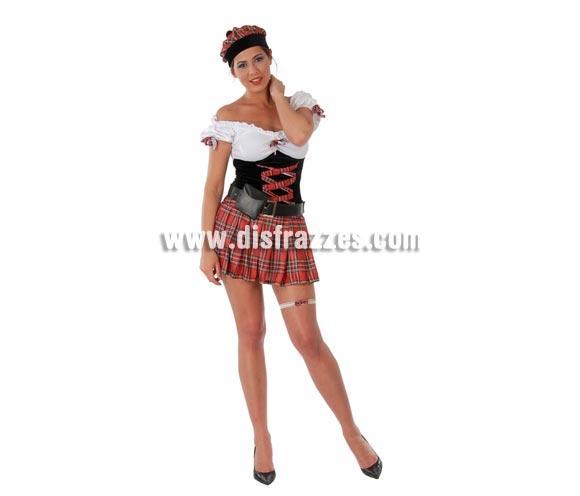 Disfraz de Escocesa Sexy adulta para Carnavales. Talla única 38/40. Incluye gorro, vestido, bolso y liga. ¡¡Compra tu disfraz para Carnaval en nuestra tienda de disfraces, será divertido!!