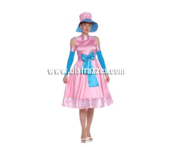 Disfraz de Tiffany adulta para Carnavales. Talla única hasta la 42/44. Incluye gorro, vestido y mangas. Disfraz de mujer de la época del siglo XIX. ¡¡Compra tu disfraz para Carnaval en nuestra tienda de disfraces, será divertido!!
