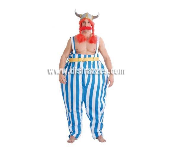 Disfraz de Galo Forzudo adulto para Carnavales. Talla única 52/54. Incluye cinturón y pantalón. Casco con peluca y bigote NO incluidos, podrás verlos en la sección de Complementos. Disfraz de Obélix para hombre.