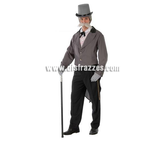 Disfraz de Caballero del siglo XIX adulto para Carnavales. Talla única 52/54. Incluye camisa, chaqueta y pantalón. Bastón y Chistera NO incluidos, podrás verlos en la sección Accesorios.