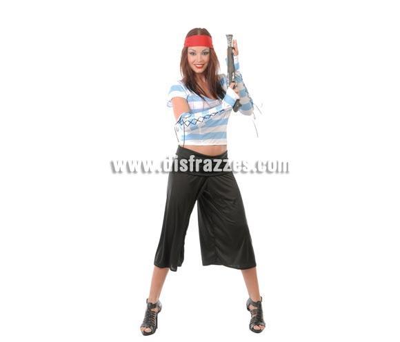 Disfraz barato de Pirata adulta rayas azules para Carnavales. Talla única hasta la 42/44. Incluye cinta de la cabeza, camisa, pantalón y manguitos. Pistola NO incluida, podrás verla en la sección Complementos. ¡¡Compra tu disfraz para Carnaval en nuestra tienda de disfraces, será divertido!!