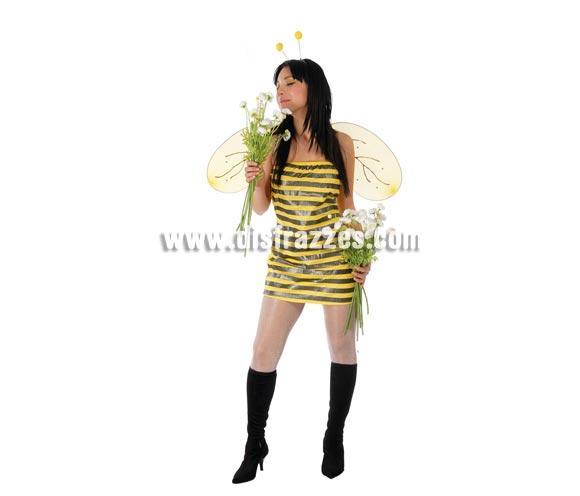 Disfraz Super barato de Abeja adulta Sexy para Carnavales. Talla única 38/40. Incluye diadema, vestido y alas. ¡¡Compra tu disfraz para Carnaval en nuestra tienda de disfraces, será divertido!!