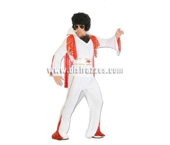 Disfraz de Rey del Rock elegance adulto para Carnavales. Talla única 52/54. Incluye camisa con capa, cinturón y pantalón. Peluca y gafas NO incluidas, podrás verlas en la sección de Complementos. Éste traje de Elvis se usa mucho en Despedidas de Soltero para hacer pasar un poco de vergüenza al Novio. ¡¡Compra tu disfraz para Carnaval en nuestra tienda de disfraces, será divertido!!