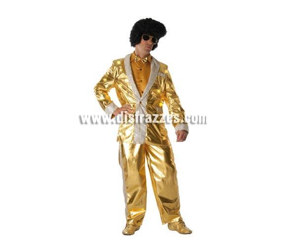 Disfraz de Rey del Rock lentejuelas adulto para Carnavales. Talla única 52/54. Incluye chaqueta y pantalón. Peluca y gafas NO incluidas, podrás verlas en la sección de Complementos. Perfecto para Despedidas de Soltero, se utiliza mucho para hacer pasar un mal rato al Novio vestido de Elvis por la calle, jejeje. ¡¡Compra tu disfraz para Carnaval en nuestra tienda de disfraces, será divertido!!