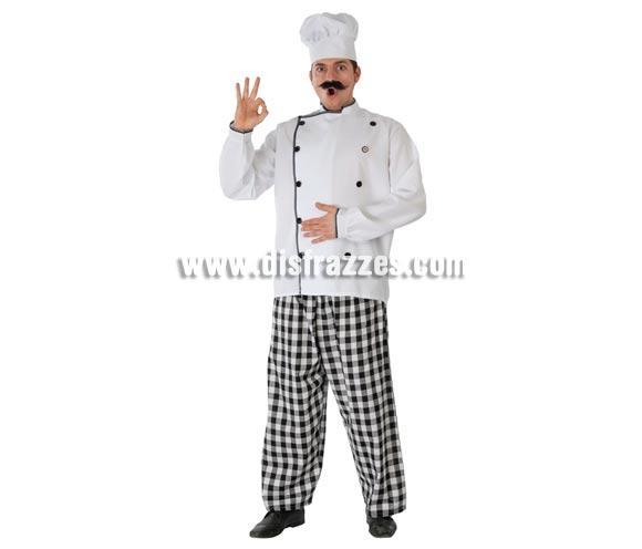Disfraz de Cocinero adulto para Carnavales. Talla única 52/54. Incluye gorro, chaqueta y pantalón. Bigote NO incluido, podrás ver bigotes en la sección de Complementos. ¡¡Compra tu disfraz para Carnaval en nuestra tienda de disfraces, será divertido!!
