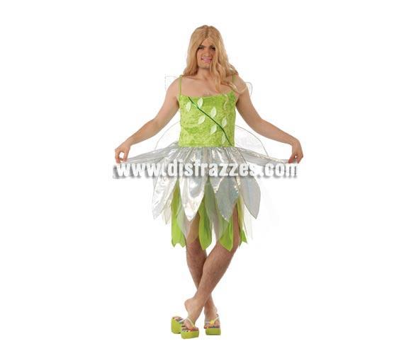 Disfraz de Campanilla de hombre para Carnavales. Talla única 52/54. Incluye vestido y alas. Para acompañar a Peter Pan, ¡Anda que no!