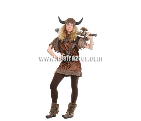 Disfraz barato de Vikinga adulta para Carnavales. Talla única válida hasta la 42/44. Incluye casco, vestido y cinturón.