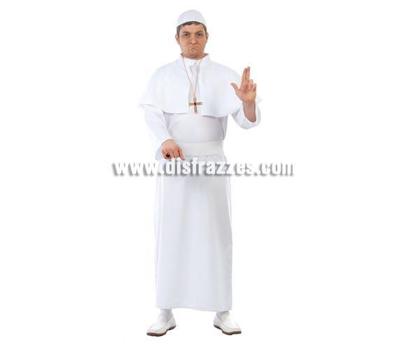 Disfraz de Papa adulto para Carnavales. Talla única 52/54. Incluye gorro, capelina, túnica y cinturón. Anillo y Cruz NO incluidos, podrás ver la cruz en la sección de Complementos.