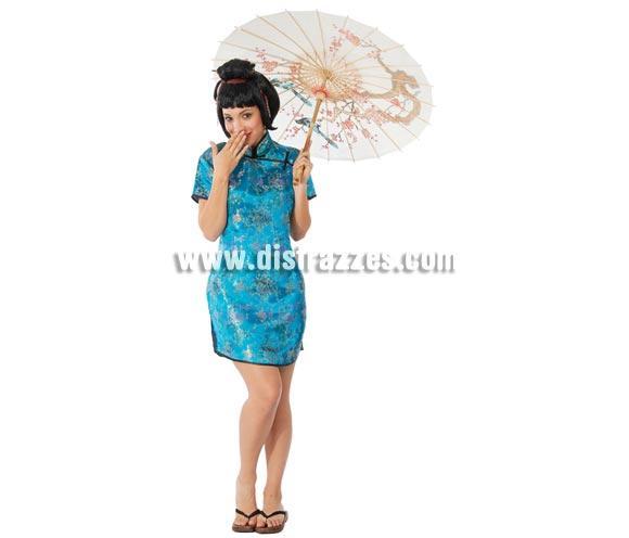 Disfraz de China Sexy adulta para Carnavales. Talla única hasta la 42/44. Incluye vestido. Sombrilla NO incluida, podrás verla en la sección de Accesorios.