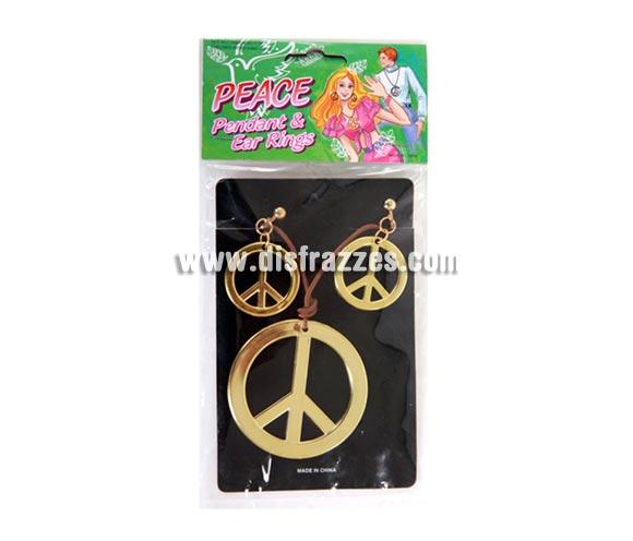 Set de pendientes + colgante del símbolo de la Paz para Carnavales. Talla o medida Universal.